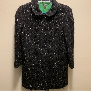 J.Crew black and white speckled heavy pea coat
